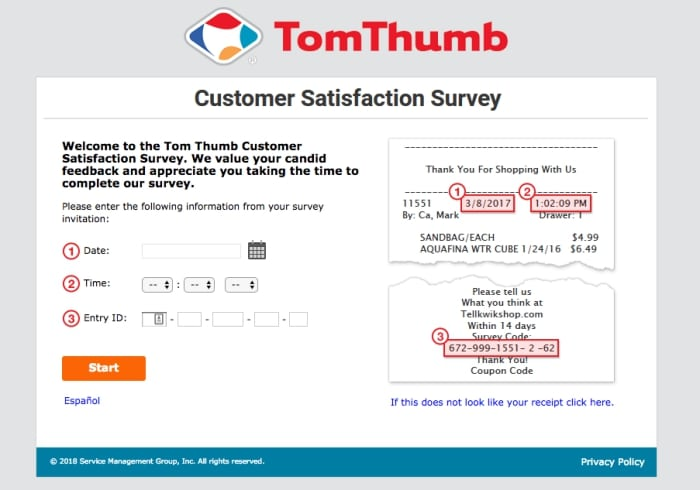 tom thumb survey screenshot
