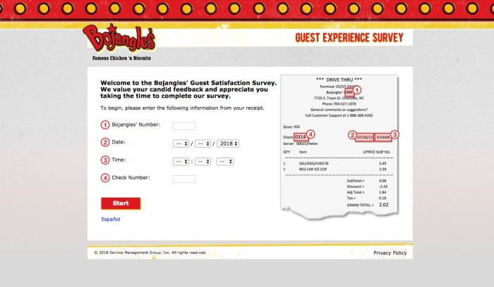 bojangles survey screenshot