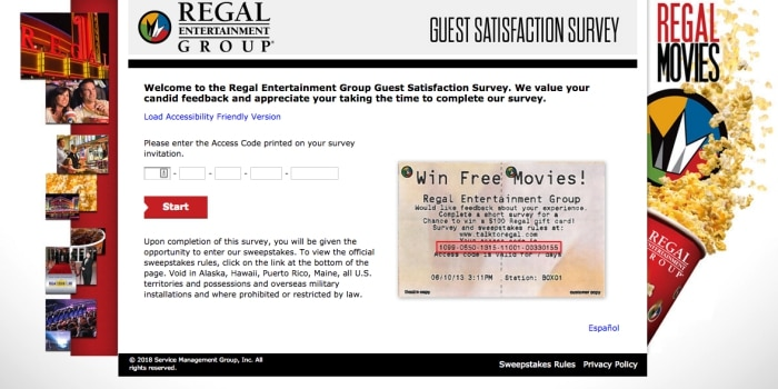 regal entertainment group survey screenshot