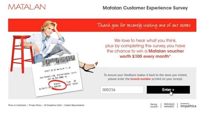 Matalan survey screenshot