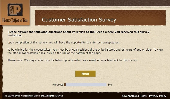 Peet's survey first page