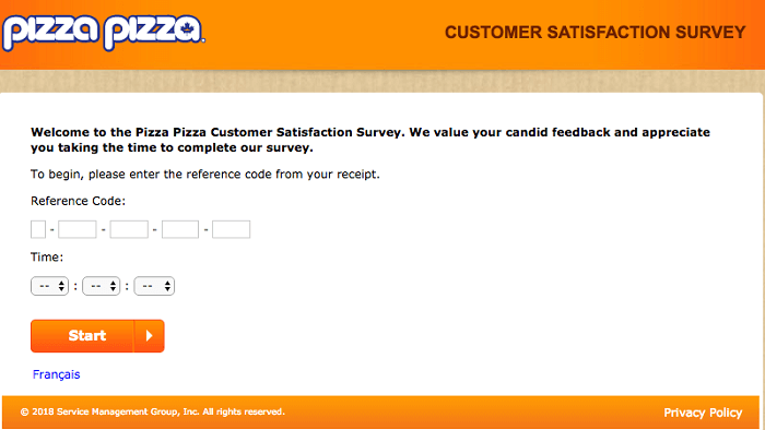 Pizza Pizza customer satisfaction survey page