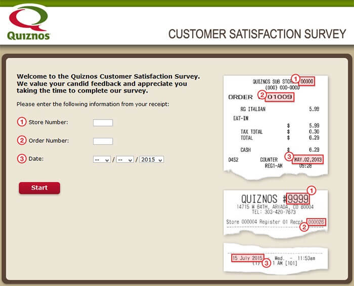 Quiznos Survey page
