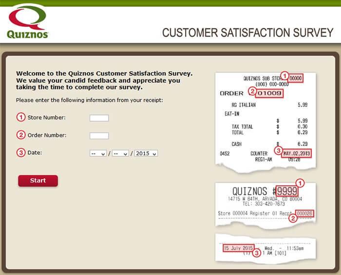 Quiznos Survey page
