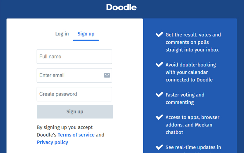 Doodle Sign-up